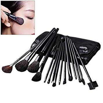 ACE 15 pcs Professional Cosmetic Makeup Brushes Set Kit Case Black Leather Face Care Make Up