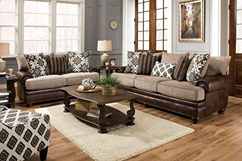 - Albany Yellowstone Sofa and Love seat Set-Rolled arms with Elegant Nailhead Trim -Western Rustin Cabin Style