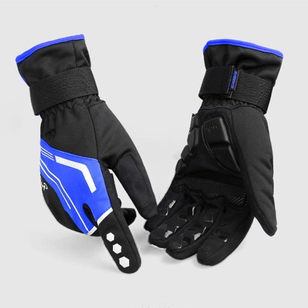 YSH Motorradhandschuhe Touchscreen Warmer Winter Winddicht Radfahren Outdoor Sport Mitts Ski Klettern Wandern Vollfinger Motorradhandschuhe,Blau-L