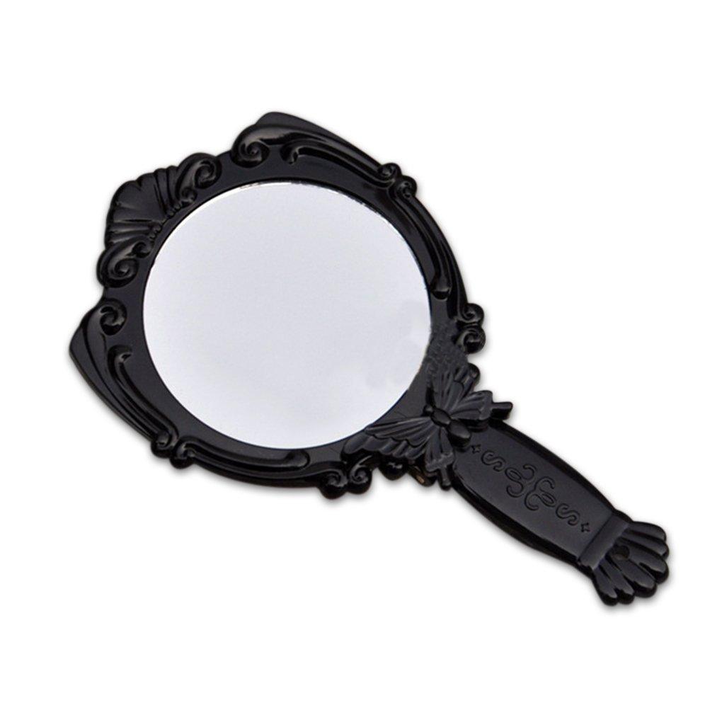 Providethebest Poignée pliable papillon portable avec miroir cosmétique Miroirs de forme ronde Provide The Best