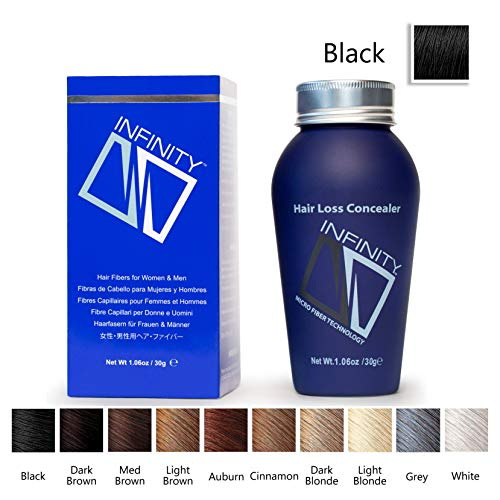 Infinity Hair Building Fibers for Thinning Hair - Hair Loss Concealer, Black, 30g
