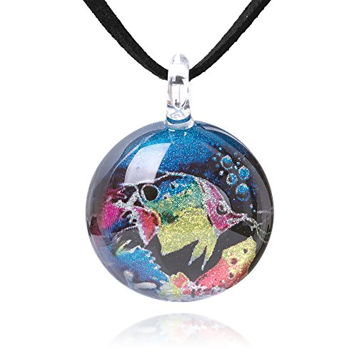 Chuvora Hand Blown Glass Jewelry Butterflyfish Tropical Fish Round Pendant Necklace, 17-19 inches Leather Cord