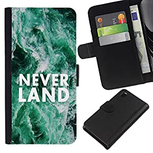 KingStore / Leather Etui en cuir / Sony Xperia Z3 D6603 / Neverland sue?os Cita Hope Fairytale