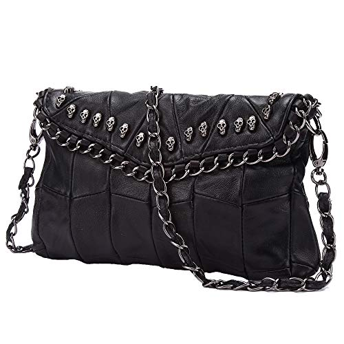 Pulama Skulls Mini Studded Leather Clutch Designer Shoulder Bag Cross Body Purse Womens Handbag