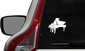 Piano Grand Version 1 Car Vinyl Sticker Decal Bumper Sticker for Auto Cars Trucks Windshield Custom Walls Windows Ipad MacBook Laptop and More (White)