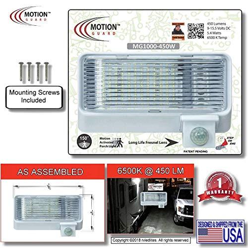MG1000-450W, 12 Volt Exterior Motion Sensor RV LED Porch Utility Light, American Designed Bright RV Security Motion Porch Light, White (Rv Light Porch Led)