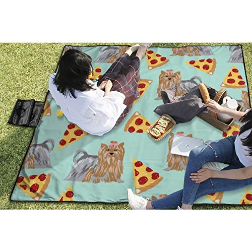 - Suniy Picnic Blanket Yorkie Dog Mint Pizzas Cute Dog Best Yorkshire Terriers Cute Dogs Pizza Mints Waterproof Extra Large Outdoor Mat Camping Or Travel Easy Carry Compact Tote Bag 59
