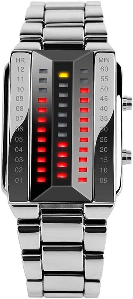 FeiWen Unico Binario Relojes de Pulsera de Hombre y Mujer Calendario Rojo LED Digitales Luminosidad Acero Inoxidable Negro Rectangular Fashion Casual Estilo Reloj, Plateado