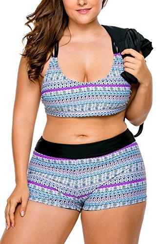 c55eefef09 WoldGirls Women s Plus Size Tankini Swimsuit Swimwear Strappy 3 Piece  Boyshort Sports Bikini Sets (XX-Large