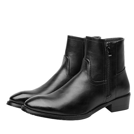 Jusheng Botas de Moda para Hombre Botines de Terciopelo con Cremallera Lateral Casual Martin Martin (