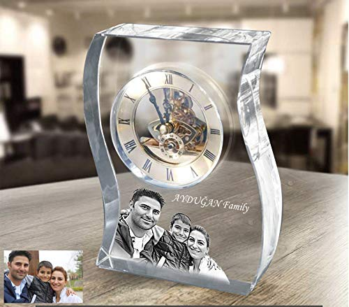 Personalized Laser Engraved Glass Mantel Clock, Custom Anniversary Crystal Table Clock as a Desk Accessory, Unique Desk Clock, Wedding Gift (Crystal Block Clock)