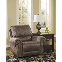 Oberson Contemporary Gunsmoke Faux Leather Swivel Glider Recliner Chair