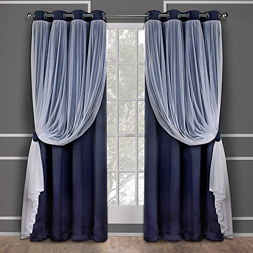 Exclusive Home Curtains Catarina Layered Solid Blackout and Sheer Window Curtain Panel Pair with Grommet Top, 52x84, Navy, 2 Piece ()