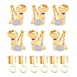 ULKEME 6pcs Guitar Tuning Pegs Verrouillage Tuners Touches Guitar Strings Button 3L+3R Gold