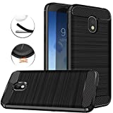 for Samsung Galaxy J3 2018, J3 V 3rd Gen, Express Prime 3, J3 Orbit,J3 Star, J3 Achieve, Amp Prime 3 Case, Dretal Carbon Fiber Brushed Texture Soft TPU Protective Cover (Black)