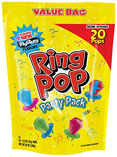 Ring Pop Individually Wrapped Variety Back to School Party Pack, Candy Lollipop Suckers w/ Assorted Flavors, 20 Count