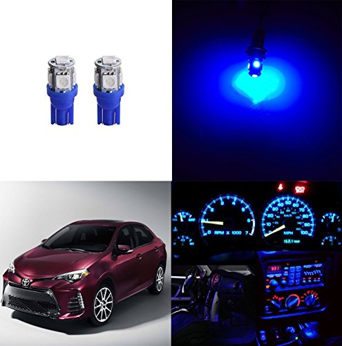 LED Monster - LED License Plate Lights Replacement Kit For 1983-Present Toyota Corolla - T10 Wedge 194 168 2825 W5W 175 6000K Ice Blue
