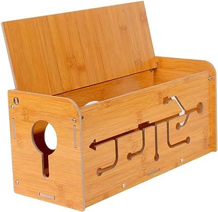 Yardwe Holz Kabelbox Kabelmanagement Box Kabelaufbewahrung Kabel Organizer Box Für Zuhause Büro Schreibtisch Fernseher Steckdose Computer Usb Hub System Zum Abdecken Und Verstecken Küche Haushalt