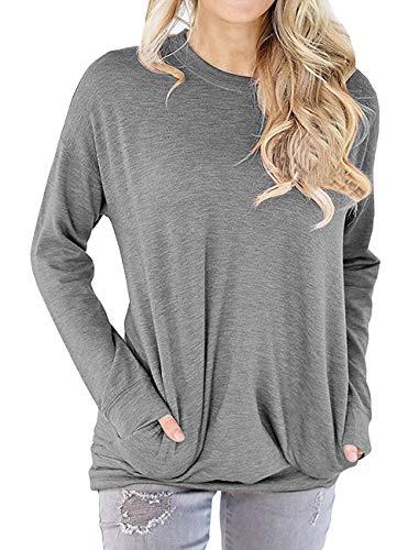 Dutebare Women Long Sleeve Sweatshirt Loose Tunic Shirts Casual Pullover Blouse Tops Grey S