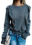 ZXFHZS Women Autumn Casual Tops Long Sleeve O-neck Ruffle T-Shirt Blouse Grey XXS