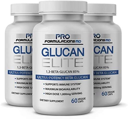 Glucan Elite 85 Beta 1,3D Glucan 500mg – 60 vcaps 85 Minimum Active 1,3 Linkage Ultra-Potency Beta Glucan Highest Bioavailability with BGF-Immune Pack of 3