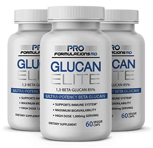 Glucan Elite - 85% Beta 1,3D Glucan 500mg - 60 vcaps   85% Minimum Active 1,3 Linkage Ultra-Potency Beta Glucan - Highest Bioavailability with BGF-Immune (Pack of 3)