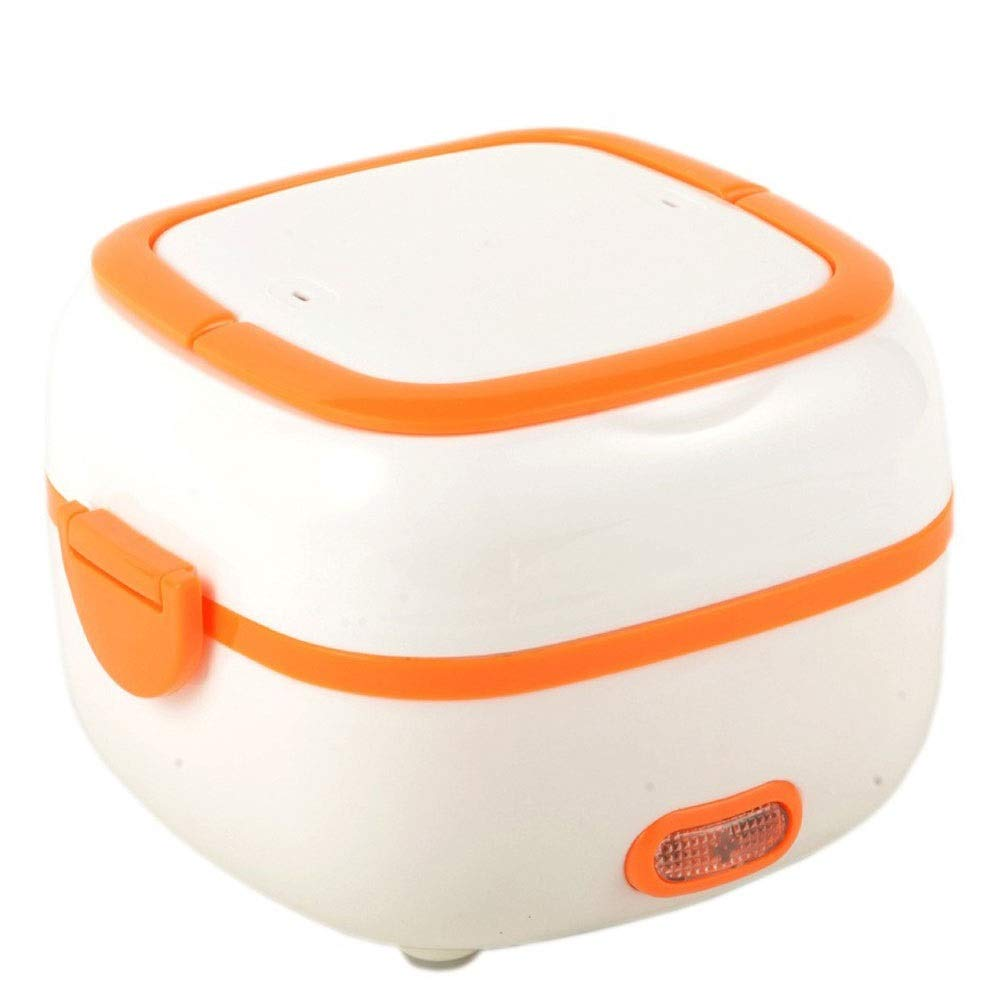 HULUWAWA ミニ1L炊飯器暖房電気ランチボックス多機能断熱食品食事ボックスポータブルフード汽船、炊飯器フード汽船とスロークッカー、青、オレンジ、紫色 (色 : Orange)  Orange B07QLW1N8C