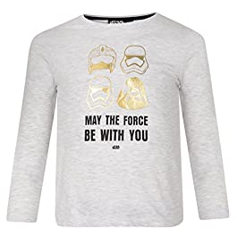 Ex-Store Boys Star Wars Long Sleeve TOP T Shirt May The Force BE with You Grey/Gold