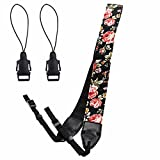 Eggsnow Camera Shoulder Strap Universal Camera Neck Belt Strap with Connect Buckle for Women Men All DSLR SLR Nikon Canon Sony Olympus Pentax Samsung(Upgraded)-Brown Flower