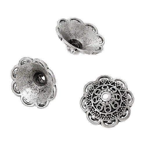 20 Tibetan Silver Large 16mm Trumpet Caps Ornate Flower Cap For Big Beads
