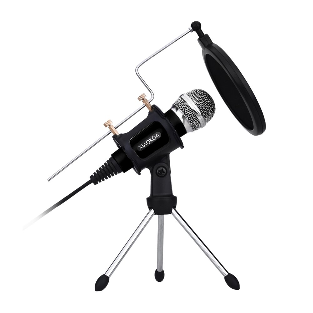 Professional Condenser Microphone, Plug &Play Home Studio microphones for Iphone Android Recording, PC, Computer, Podcasting, Mini Desktop MIC Stand dual-layer acoustic filter (Black) by XIAOKOA by XIAOKOA