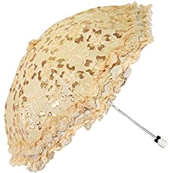 Honeystore Travel Sun Parasol Folding Brolly Anti-uv Sunshade Vintage Umbrella 2 Fold Yellow