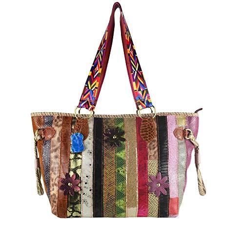 Women's Stylish Multicolor Tote Stripe Patchwork Designer Large Handbags 3D Flower Colorblock Shoulder Bags-Sibalasi