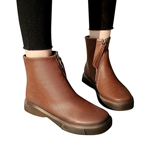 Neartime Promotion❤️Women Boots, 2018 Fashion Student Flat Martin Boots Solid Color Zipper Thick Short Leather Shoes by Neartime Sandals (Image #6)