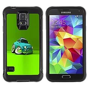 LASTONE PHONE CASE / Suave Silicona Caso Carcasa de Caucho Funda para Samsung Galaxy S5 SM-G900 / Car Teal Cartoon Kids