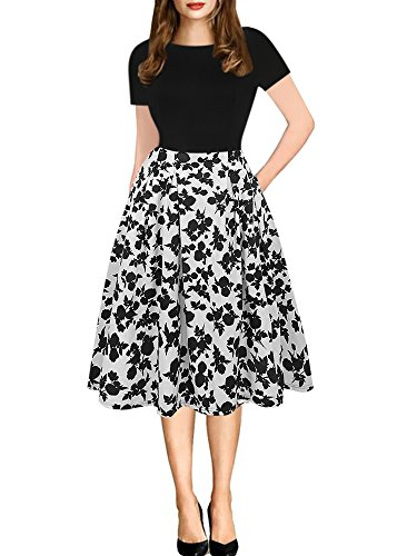 oxiuly Women's Vintage Patchwork Pockets Puffy Swing Casual Party Dress OX165 (3XL, Black White)