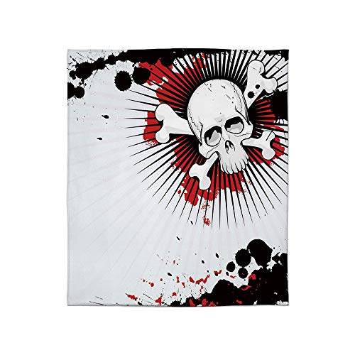 YOLIYANA Lightweight Blanket,Halloween,for Bed Couch Chair Fall Winter Spring Living Room,Size Throw/Twin/Queen/King,Skull with Crossed Bones Over Grunge Background]()