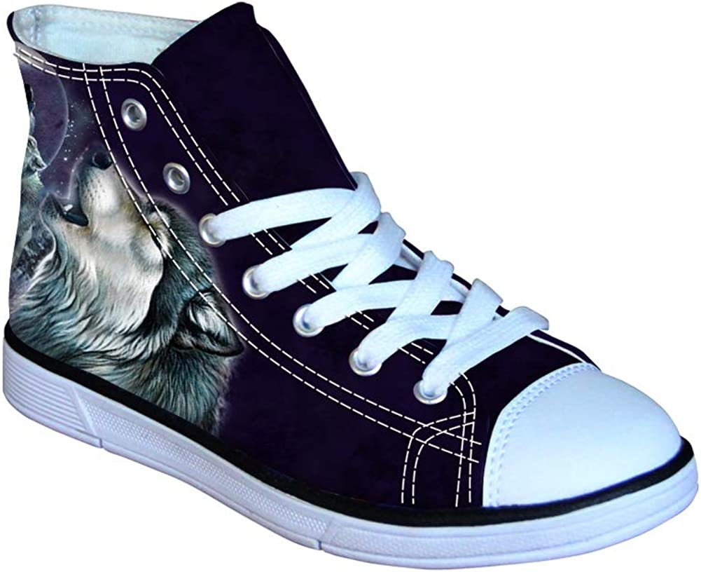 Instantarts Cool Animal Wolf Print Kid Sneaker High Top Canvas Shoe for Girl Boy