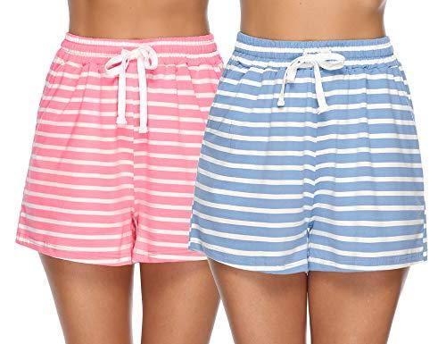 Aibrou Pajama Shorts Women Sleep Shorts Cotton Striped Pajama Bottoms Pants Short Summer, Pink & Blue Striped S