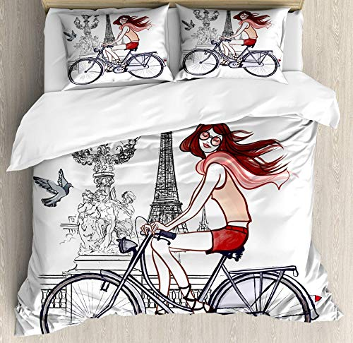 - USOPHIA Eiffel Tower King Size 4 Pieces Bed Sheets Set, Illustration of a Woman on Alexander III Bridge in Paris Riding a Bike Floral Duvet Cover Set, Grey Red Peach