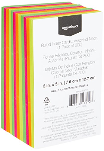 AmazonBasics Ruled Index Cards, Assorted Neon, 3x5-Inch, 300-Count Photo #5