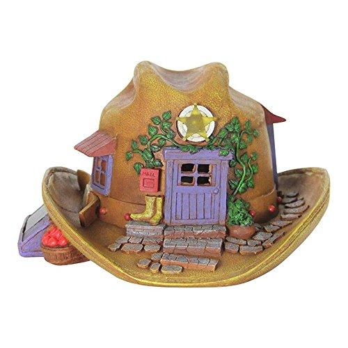 Mini Dollhouse FAIRY GARDEN Accessories - Solar Cowboy Hat House - My Garden Miniatures