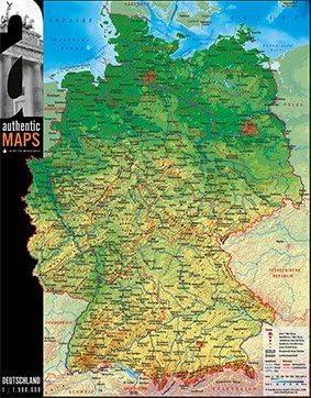 deutschland 3d karte Vogt Foliendruck GmbH 3D   Landkarte Deutschland 60 x 47 cm Karte