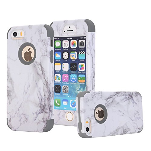 iPhone 5S Case, iPhone SE Case, Asstar 3 In 1 Flexible Slim Soft Silicone Hard PC Marble Design Shockproof Anti-Scratch Glossy Protective Cover Case for for Apple iPhone 5 5S SE (Grey)