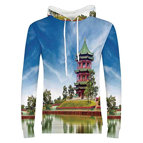 Home Decor Stylish Hoodie,Vibrant Sky and Lake with Antique Temple Surround by Trees Traditional Asian Home Decor Sweaters for Men & Boys,XX Large (Sky Temple Best Heroes)