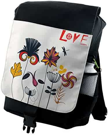 ceb67c994f9 Lunarable Dragonfly Backpack, Funky Flower Motifs Boho, Durable All-Purpose  Bag