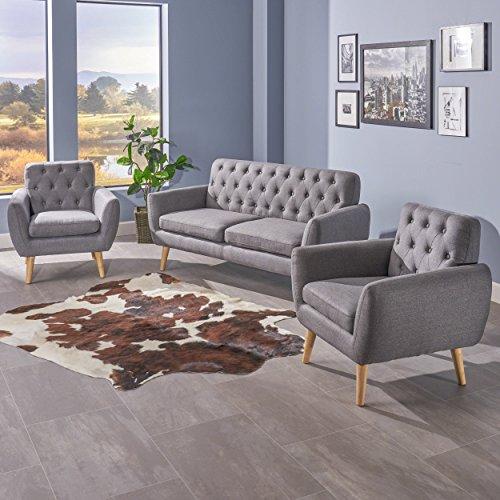 Eunice Petite Mid Century Modern Tufted Dark Grey Fabric 3 Piece Sofa and Club Chairs Set