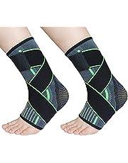 TOFBS Fotledsstöd 1 par, justerbart kompression fotledsstöd för män kvinnor hälsena, plantar fasciit, stabilisera ligament, lindrar smärta svullnad och spruten ankelsmärta