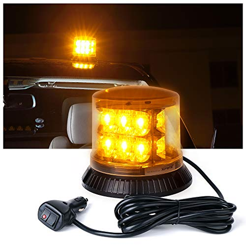 Xprite Amber/Yellow Revolving Strobe Flashing Emergency Beacon LED Lights with Magnetic Mount 18 LED 12 Flash Patterns for for Trucks Snow Plow construction vehicle car ()