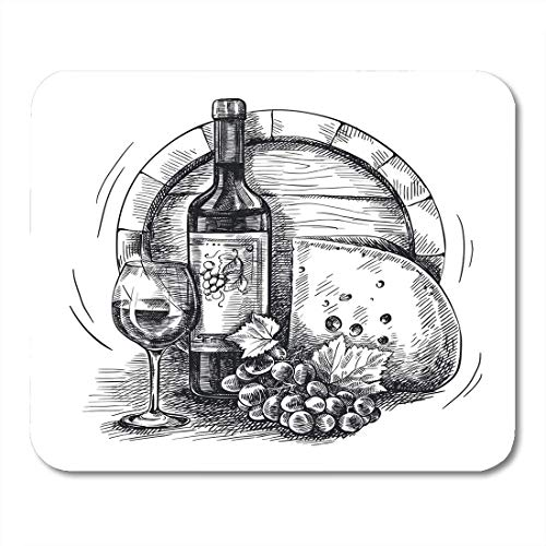 Mouse Pad Green Sketch of Bottle Wine Grapevine and Cheese Mousepad for Notebooks,Desktop Computers Mouse Mats 9.8x11.8 inch ()